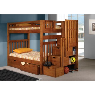 Donco Kids Honey Tall Twin-over-twin Mission Stairway Bunk Bed with Storage Drawers