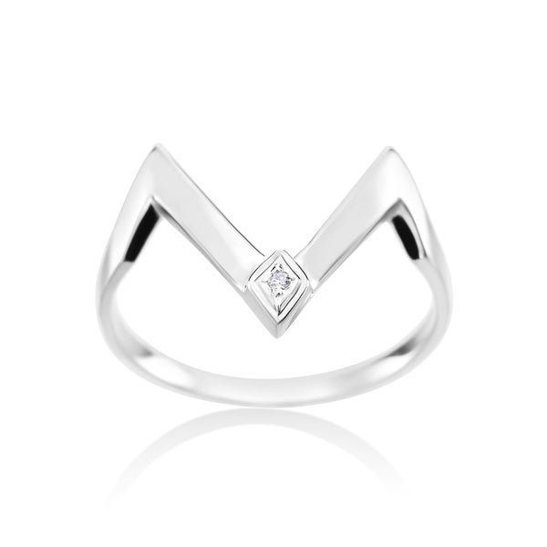 SummerRose, 14k White Gold Fashion Diamond Ring 0.01ct
