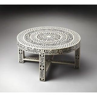 Butler Amanda 3225070 Black/Bone MDF Wood 34-inch x 18-inch Inlay Cocktail Table