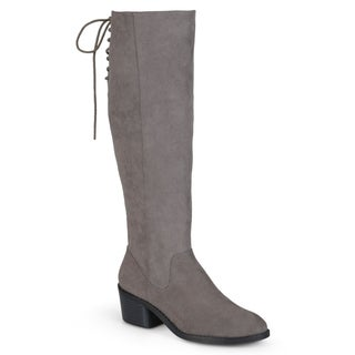 Journee Collection Women's Regular and Wide-Calf 'Roz' Faux Suede Round Toe Boots