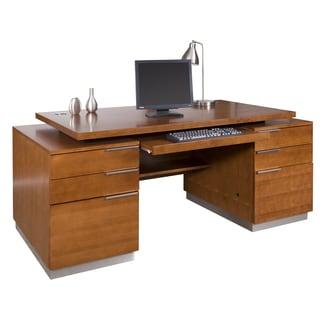 Monaco Monterey Collection Brown Wood Double Pedestal Executive Desk