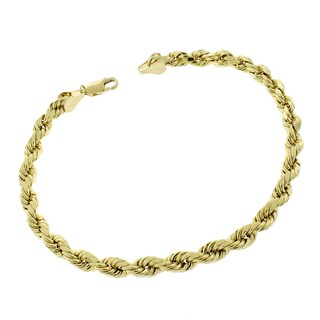 10k Yellow Gold 5.5-millimeter 9-inch Hollow Rope Diamond Cut Unisex Bracelet Chain