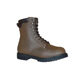 Golden Retriever Men's Brown Leather/Rubber 8-inch Work Boot