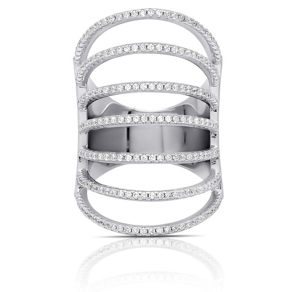 Samantha Stone Sterling Silver Cubic Zirconia Multi Strand Ring