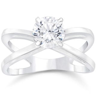 14k White Gold 1ct TDW Round Cut Clarity Enhanced Diamond Solitaire Engagement Ring (H-I, SI2- I1)
