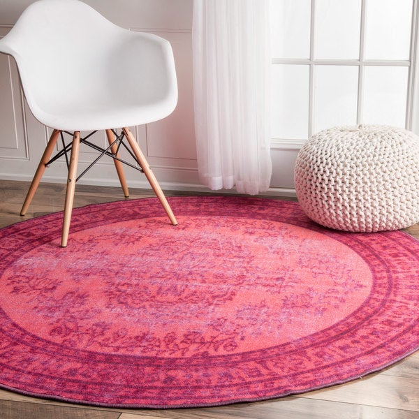 Nuloom Vintage Inspired Turquoise Overdyed Rug: NuLOOM Vintage Inspired Fancy Overdyed Pink Round Rug (5'5