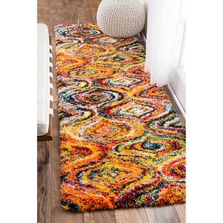 nuLOOM Soft and Plush Moroccan Rainbow Trellis Shag Multi Runner Rug (2'8 x 8')