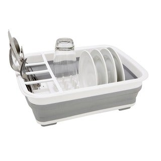 Better chef 16 inch chrome dish rack with utensil holder for Alpine cuisine silverware