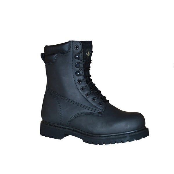Golden Retriever Men's Black Leather/Rubber 8-inch Steel-toe Safety Work Boot
