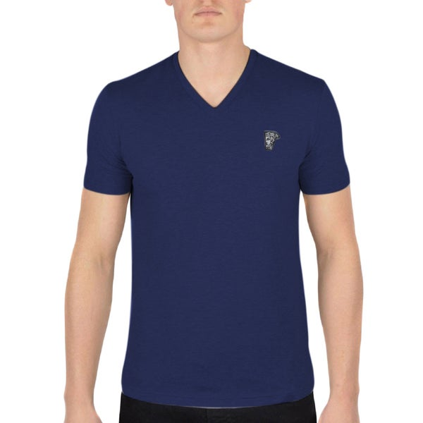 Versace Collection Men's Medusa Navy Blue Cotton V-neck Short Sleeve T-Shirt