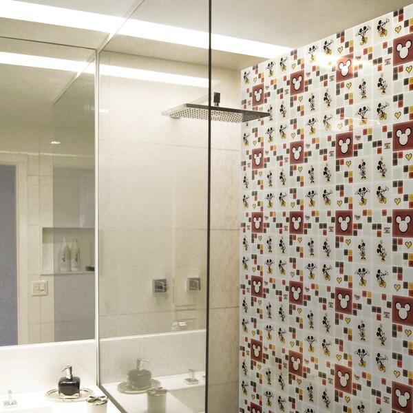 Disney 11.75x11.75-inch Mickey and Minnie Multi Glass Mosaic Wall Tile 19351720