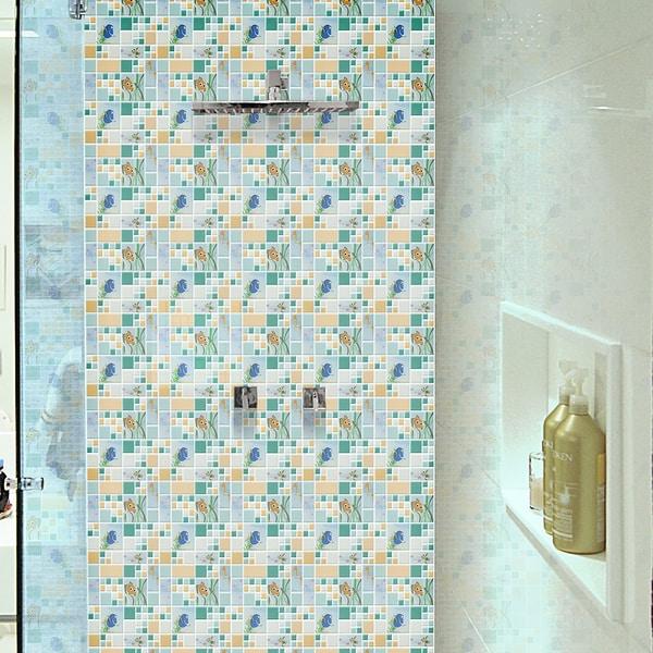Disney 11.75x11.75-inch Finding Nemo Aqua Glass Mosaic Wall Tile