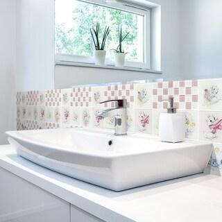 Disney 11.75x11.75-inch Aristocats Pink Glass Mosaic Wall Tile