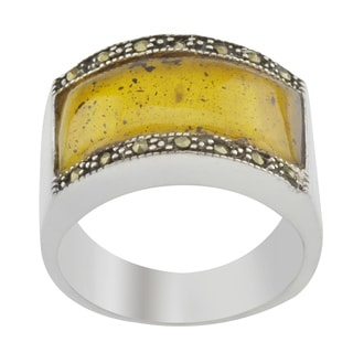Brown Amber & Marcasite Ring