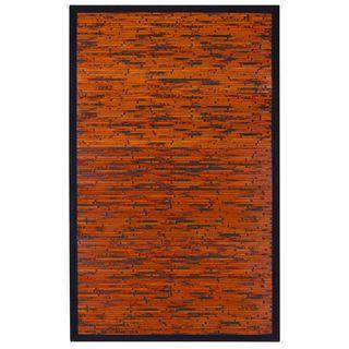 Jani Apyan Mahogany Bamboo Rug with Black Border (2' x 3')