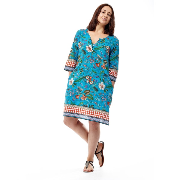 La Cera Women's Plus-size Long-sleeve Border Printed Dress