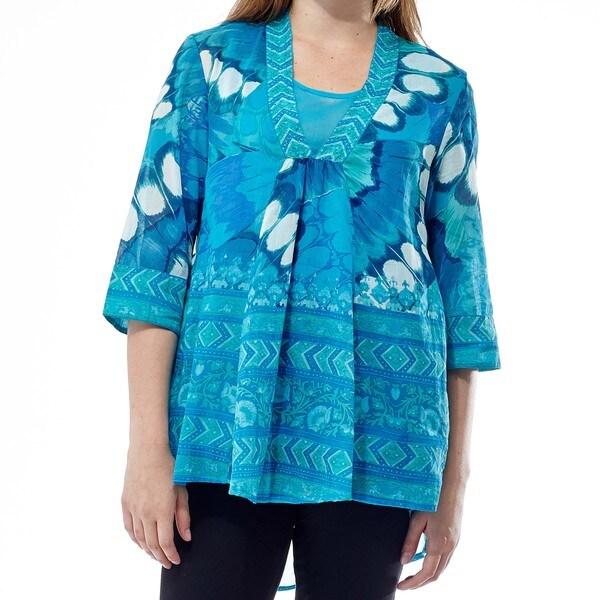 La Cera Women's Blue Cotton Beaded V-neck Pullover Top