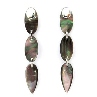Sterling Silver and Mother of Pearl Dangling Earrings