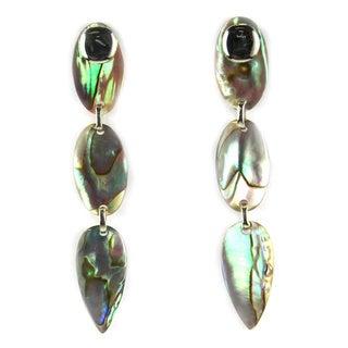 Sterling Silver Blue Abalone Oval Earrings