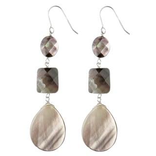 Sterling Silver Black Mother of Pearl Earrings
