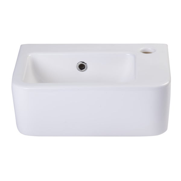 Alfi White Ceramic Wall-Mounted Bathroom Sink Basin