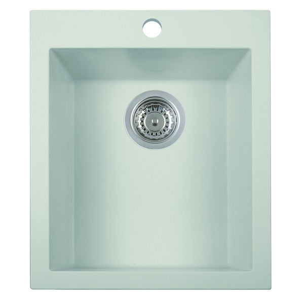 ALFI White Drop-In Rectangular Granite Composite Kitchen Prep Sink
