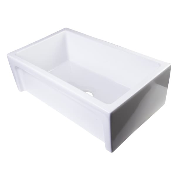Apron Sink 30 : White Fireclay 30-inch Arched Apron Single-bowl Kitchen Sink ...