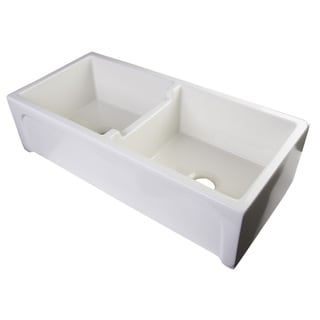 Alfi White Fireclay 39-inch Biscuit Arched Apron Thick-wall Double-bowl Farm Sink