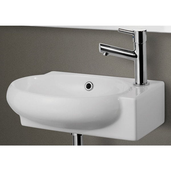 White Ceramic Small Wall-mounted White Porcelain Bathroom Sink Basin