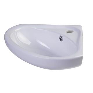 ALFI brand AB109 18-inch White Porcelain Wall Mounted Corner Sink