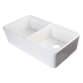 Alfi White Fireclay 32-inch Double Bowl Farmhouse Kitchen Sink with 1 3/4-inch Lip