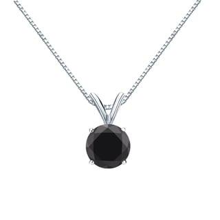 Auriya 14k Gold 1 1/4ct TDW Round-Cut Black Diamond Bezel Solitaire Necklace