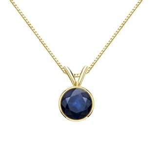 Auriya 14k Gold 3/4ct Round-Cut Blue Sapphire Gemstone Bezel Solitaire Necklace