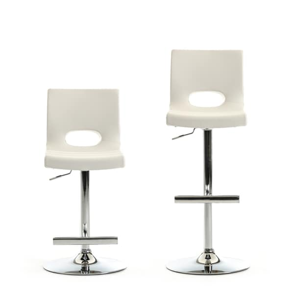Modrest Lauda Modern White Leatherette Bar Stool