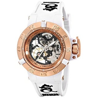 Invicta Women's Subaqua 20 ATM Mechanical Hand-wind White Silicone Band Watch
