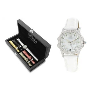 Invicta Women's Wildflower Quartz 3-hand MOP 5 Leather Bands Watch Set