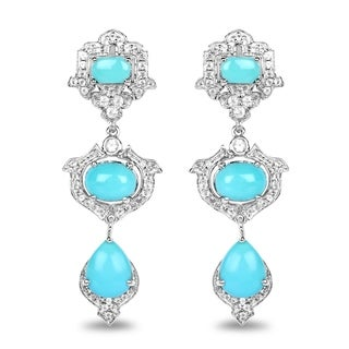 Malaika .925 Sterling Silver 5.78-carat Genuine Turquoise/White Topaz Earrings