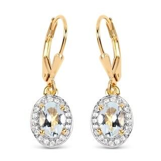 Malaika 14K Yellow Gold Plated 1.70 Carat Genuine Aquamarine & White Topaz .925 Sterling Silver Earrings