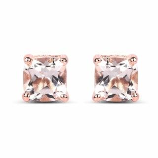 Malaika 14k Rose Gold-plated 0.925 Sterling Silver 1.20-carat Genuine Morganite Earrings