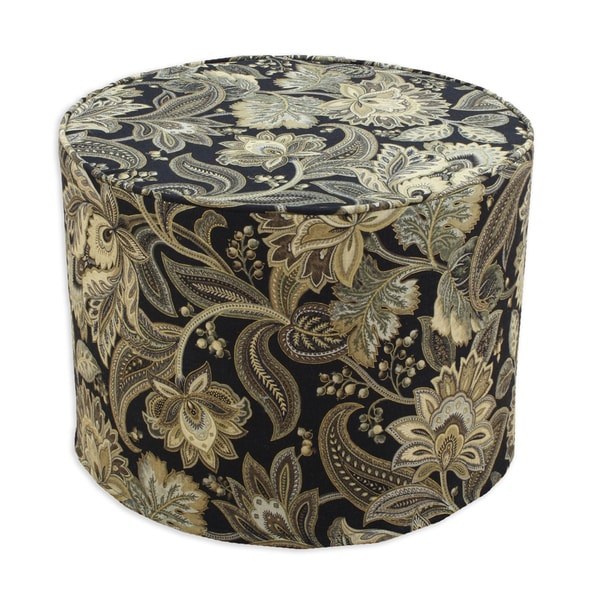 Valdosta Blackbird Black, Gold, Green Cotton Corded Foam Ottoman