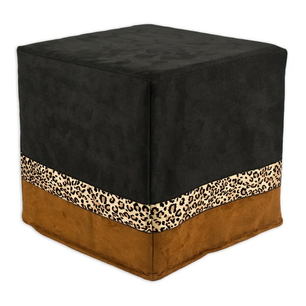 """Passion Suede Black/Rust Horizontal 12.5"""" Square Foam Ottoman with 2.5"""" Bobcat Ribbon"""