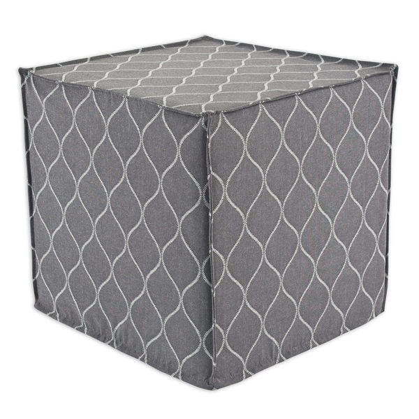Oh Gee Heather Grey 12.5 Inch Square Seamed Foam Ottoman