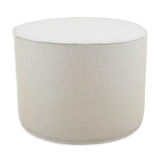 Linen Natural 20 Inch Round Corded Foam Ottoman