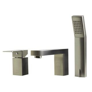 Afli Brushed Nickel Tub Filler with Hand-held Shower Head