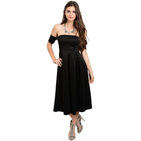 Shop The Trends Women's Off-the-shoulder A-line Midi Dress with Short Sleeves