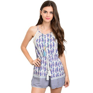 Shop the Trends Women's Spaghetti Strap Romper with Round Neckline and All-over Mixed Print