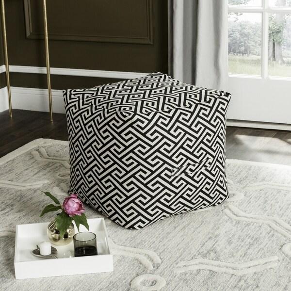 Safavieh Valentina Fret Black / White Maze Pouf
