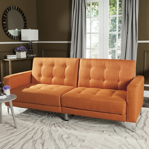 Safavieh Soho Two-in-One Foldable Orange Loveseat Sofa Bed