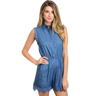 Shop The Trends Women's Sleeveless Button-down Blue Denim Romper with Collared Neckline and Scalloped Crochet Trim
