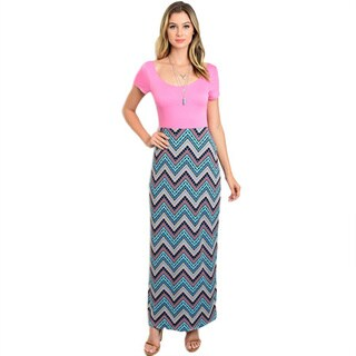 Shop the Trends Women's Multicolored Polyester and Spandex Short-sleeve Maxi Dress with Solid Bodice and Zigzag Print on Skirt